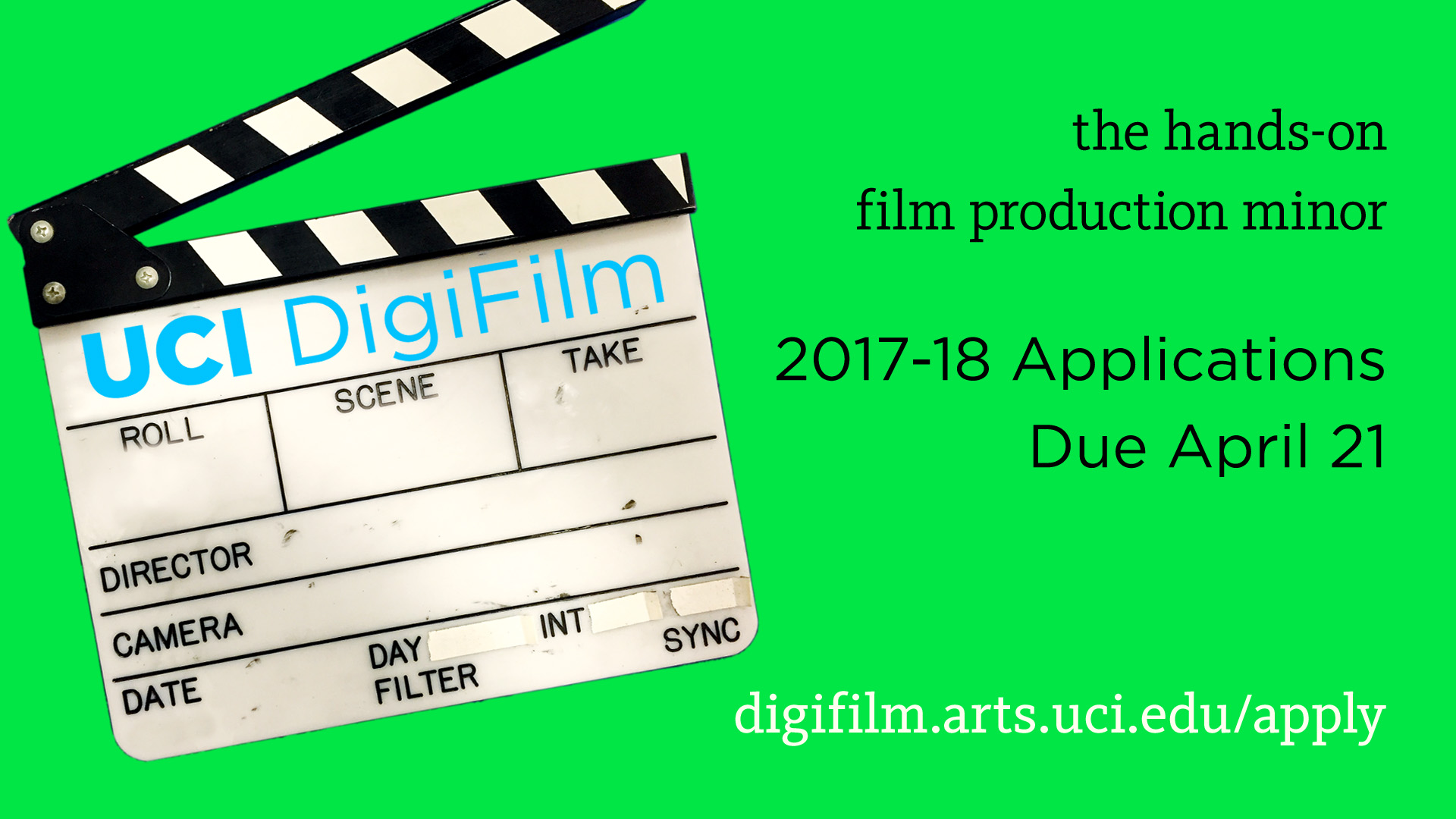 UCI DigiFilm is the hands-on UCI film production program. Applications for the 2017-18 program are due April 21.